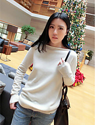 cheap -Women's Daily Cute Sexy Solid Boat Neck Pullover, Long Sleeves Winter Fall Cashmere Cotton