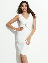 billige -Dame Chic & Moderne Bodycon Kjole - Ensfarvet, Moderne Stil Knælang