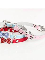 cheap -Dog Collar Adjustable / Retractable Mosaic Bone Rhinestone PU Leather Red Blue Pink