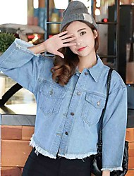 cheap -Women's Casual/Daily Casual Spring / Fall Denim Jackets