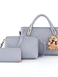 Women Bags All Seasons PU Bag Set 3 Pcs Purse Set for Casual Black Gray Blushing Pink Lavender