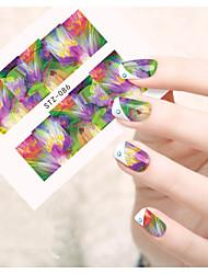 billige -1 pcs Negle Smykker Vandoverførings klistermærke Negle kunst Manicure Pedicure Smuk Blomst / Tegneserie / Negle smykker