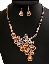 cheap -Women's Jewelry Set Synthetic Gemstones Rhinestone Alloy Peacock 1 Necklace 1 Pair of Earrings For Wedding Party Daily Wedding Gifts