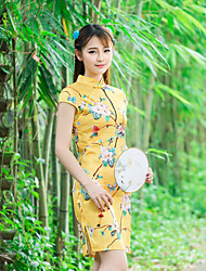segno nuovo gioco retrò farfalla vestito di seta floreale 2016 estate cinese migliorato cheongsam