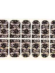 12PCS Wasser-Lilien-Form Black Lace Nail Art Sticker NO.16