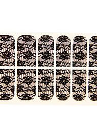 preiswerte -12PCS Wasser-Lilien-Form Black Lace Nail Art Sticker NO.16