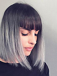 Top Quality Bob Style Ombre Grey Wig Synthetic Hair Wig Short Straight Bobo Hair Fashion Cheap Synthetic Wigs