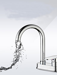 Contemporary Centerset Rain Shower with  Ceramic Valve Single Handle Two Holes for  Chrome , Bathroom Sink Faucet