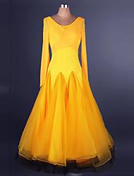 abordables -Danse de Salon Robes Femme Utilisation Chinlon / Organza Effet Croisé / Fantaisie Manches Longues Taille moyenne Robe
