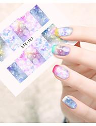 1 Sanat Sticker Nail Su Transfer Etiketi Çiçek Karikatür Sevimli Makyaj Kozmetik Sanat Tasarım Nail