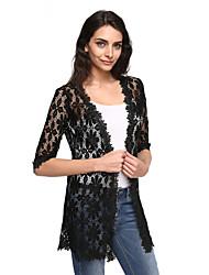 Women's Solid Cardigan White / Black Wrap , Deep V ½ Length Sleeve