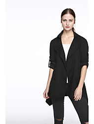 cheap -Women's Daily Simple Casual Spring Fall Jacket,Solid Round Neck Long Sleeves Regular Cotton Polyester Classic Style