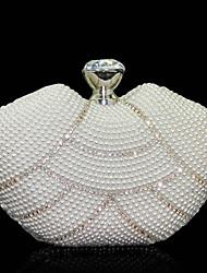 Donna Sacchetti Per tutte le stagioni Vacchetta Borsa da sera Perle Crystal / Rhinestone per Matrimonio Serata/evento Formale Bianco Nero