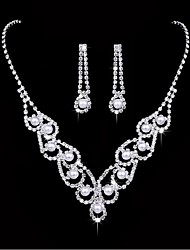Jewelry 1 Necklace 1 Pair of Earrings Imitation Pearl Rhinestone Wedding Party Alloy Imitation Pearl Rhinestone Silver Plated 1set Women