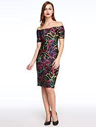 Gaine Robe Femme SoiréeImprimé Epaules Dénudées Midi Manches Courtes Multi-couleur Polyester Toutes les Saisons Elastique Moyen