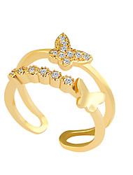 abordables -Anillo Cristal Legierung Brillante La imitación de diamante Plata Dorado Joyas Boda Fiesta 1 pieza