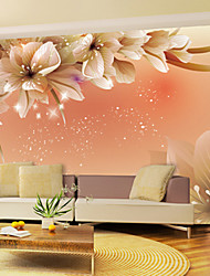 cheap -Shinny Leather Effect Large Mural Wallpaper Flowers Art Wall Decor for Living Room TV Soaf Background