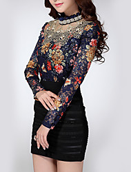 Women's Casual/Daily Holiday Vintage Sophisticated Shirt,Floral Turtleneck Long Sleeve Black Polyester