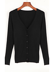cheap -Women's Going out Casual Long Sleeve Cotton Cardigan - Solid Colored V Neck