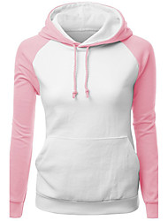 Women's Casual/Daily Sports Active Street chic Hoodie Color Block Round Neck Micro-elastic Polyester Long Sleeve Spring Fall
