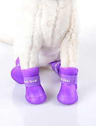 cheap -Cat Dog Shoes & Boots Waterproof Solid Black Purple Rose Green Blue For Pets