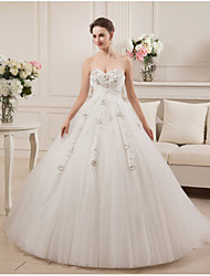 Ball Gown Sweetheart Court Train Satin Tulle Wedding Dress with Beading by MD