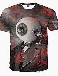baratos -Homens Camiseta - Festa Esportes Bandagem Estampado Decote Redondo
