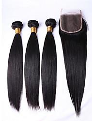 preiswerte -3 Bündel Brasilianisches Haar Glatt 8A Echthaar Menschenhaar spinnt Menschliches Haar Webarten Haarverlängerungen / Gerade