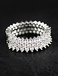 cheap -Women's Rhinestone Sterling Silver Ring - Luxury Silver Ring For Wedding / Party / Casual