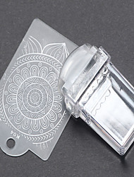 1 PCS A Rectangle Transparent The Seal Nail Art The Seal The Template Scraper 2 Times