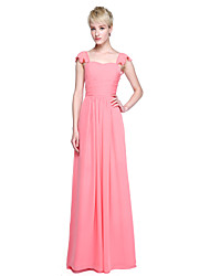 cheap -Sheath / Column Straps Floor Length Chiffon Bridesmaid Dress with Ruffles Pleats by LAN TING BRIDE®