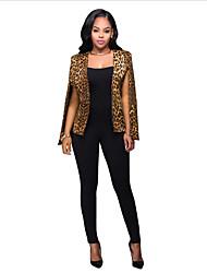 Women's Party Work Sophisticated Summer Fall Blazer,Leopard Sleeveless Regular Polyester