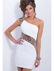 cheap -Women's Club Bodycon Sheath Dress - Solid Colored White, Lace Mini One Shoulder