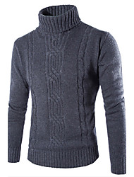 cheap -Men's Daily Casual Regular Pullover,Solid Turtleneck Long Sleeves Cotton Polyester Winter Fall Medium Micro-elastic