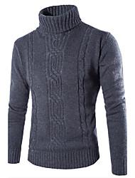 preiswerte -Herren Standard Pullover-Lässig/Alltäglich Einfach Solide Grau Rollkragen Langarm Baumwolle Polyester Herbst Winter Mittel Mikro-elastisch