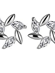 abordables -Femme Cristal / Zircon cubique Argent sterling / Zircon / Imitation Diamant Boucles d'oreille goujon - Mode / Européen Blanc / Violet Des