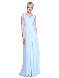 Fourreau / Colonne Drapé Longueur Sol Mousseline de soie Robe de Demoiselle d'Honneur  avec Ruché par LAN TING BRIDE®