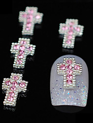 10pcs Glitter Crossing DIY Alloy Pink Rhinestone Accessories Nail Art Decoration