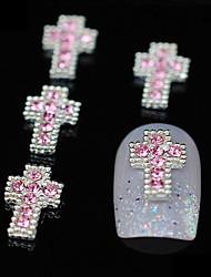10stk Glitter krydser DIY legering lyserød rhinestone tilbehør nail art dekoration
