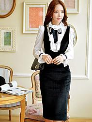 preiswerte -Damen Etuikleid Hülle Das kleine Schwarze Kleid-Ausgehen Formal Party/Cocktail Retro Einfach Anspruchsvoll Solide Tiefes V Übers Knie