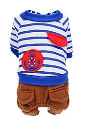 preiswerte -Hund Overall Hundekleidung Streifen Rot Blau PU-Leder Baumwolle Kostüm Für Haustiere Herrn Damen Niedlich warm halten Modisch