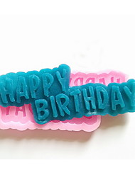 cheap -HAPPY BIRTHDAY Signs  Silicone Fondant Mold Cake Decoration Mold
