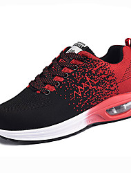 cheap -Women's Athletic Shoes Spring Fall Comfort Fabric Athletic Flat Heel Lace-up Blue Black and Red Black and White