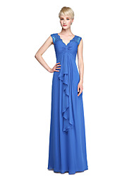cheap -Sheath / Column V Neck Floor Length Chiffon Bridesmaid Dress with Appliques / Lace Insert by LAN TING BRIDE®