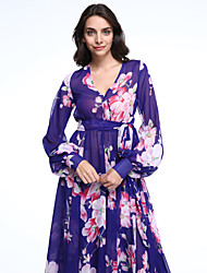 Women's Boho Holiday / Plus Size Boho Swing Dress,Floral Deep V Midi Long Sleeve Blue Polyester Summer