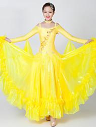 abordables -Danse de Salon Robes Femme Utilisation Spandex / Tulle Appliques / Fantaisie / Cristaux / Stras Manches Longues Robe / Tour de Cou