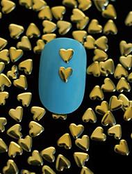 100pcs 4mm * 4mm décoration d'art rivet ongles or coeur en métal