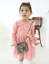 cheap -Girl's Daily Print Patchwork Dress,Cotton Polyester Spring Fall Long Sleeve Lace Bow Black Pink