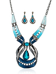 cheap -Jewelry Set Simulated Diamond Drop Blue Wedding Party Daily Casual 1set 1 Necklace 1 Pair of Earrings Wedding Gifts