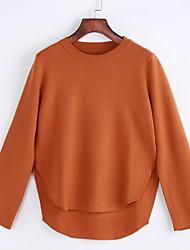 Damen Standard Pullover-Lässig/Alltäglich Übergröße Einfach Solide Rosa Rot Schwarz Grau Gelb Rundhalsausschnitt Langarm Baumwolle Herbst
